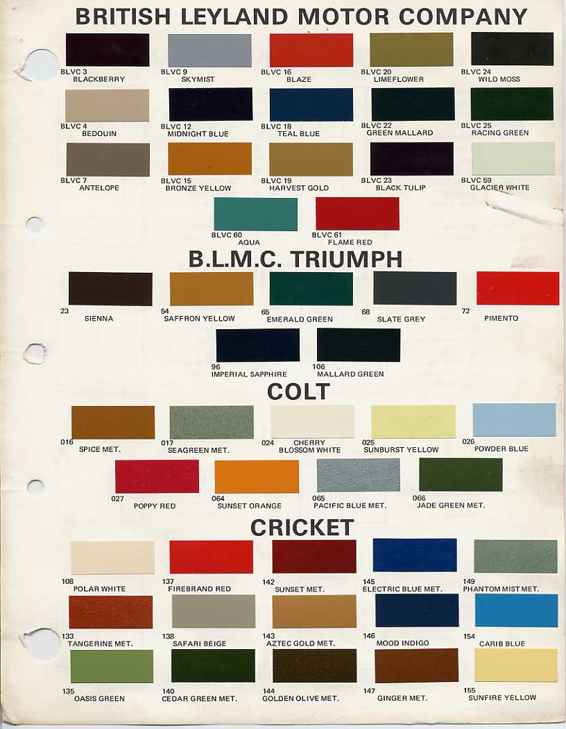 Bmc british leyland paint code chips 1970 1972