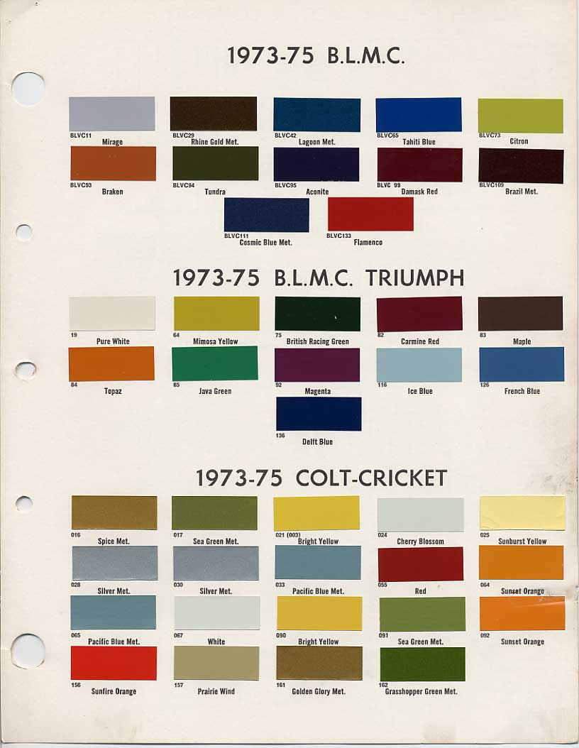 Bmc Bl Paint Codes And Colors How To Library The Austin Healey 2014 Ford Color Chart British Leyland Code Chips 1973 1975