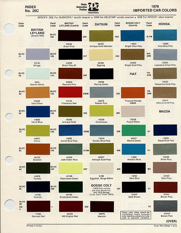 Bmc Bl Paint Codes And Colors How To Library The