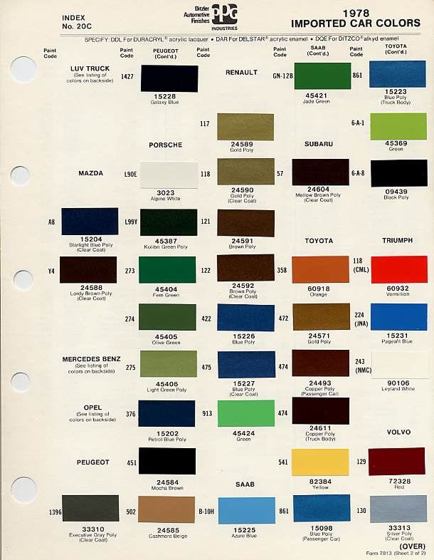 Metallic Car Paint Colors >> BMC/BL Paint Codes and Colors : How-To Library : The Austin-Healey Experience